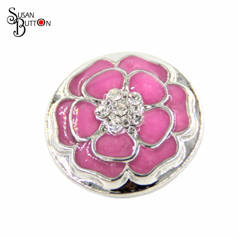 Newest Enamel Pink Metal Flower Rhinestone Center Snap Charm Chunky Buttons 18mm Snap Ginger Charms Jewlery for bracelet SB1474