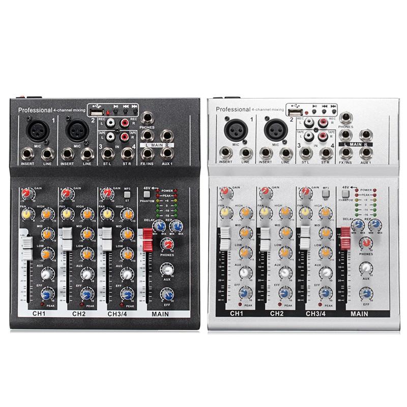 Черный белый 4 канала Professional Live Mixing Studio Аудио Звук консоли 48 В в USB Микшер сети якорь звуковая карта