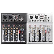 Black White 4 Channel Professional Live Mixing Studio Audio font b Sound b font Console 48V