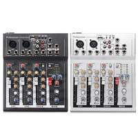 Black White 4 Channel Professional Live Mixing Studio Audio Sound Console 48V USB Mixer Console Network
