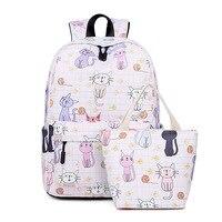 Waterproof Women Small Backpack Kawaii Cat Neko Bookbag Canvas School Bags for Teenage Girls Cute Travel Bagpack Laptop Rugzak