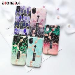 EKONEDA Hidden Holder For iPhone 7 Plus Case iPhone X Case Ring Relief Ingradient Geometric For iPhone XS Max XR 6S 8 Plus Case 2