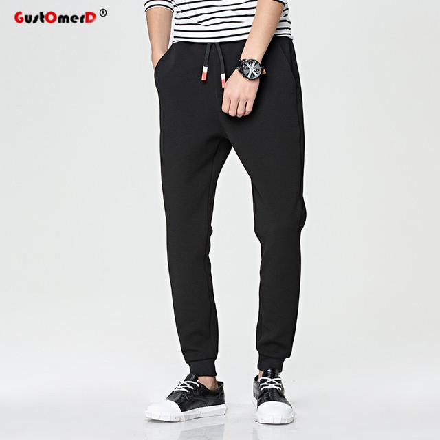 GustOmerD Nueva Primavera Hombres de La Moda del Color Sólido Pantalones Casuales Pantalones Harem Slim Fit Artículos Mens Joggers Pantalón Chándal de moda