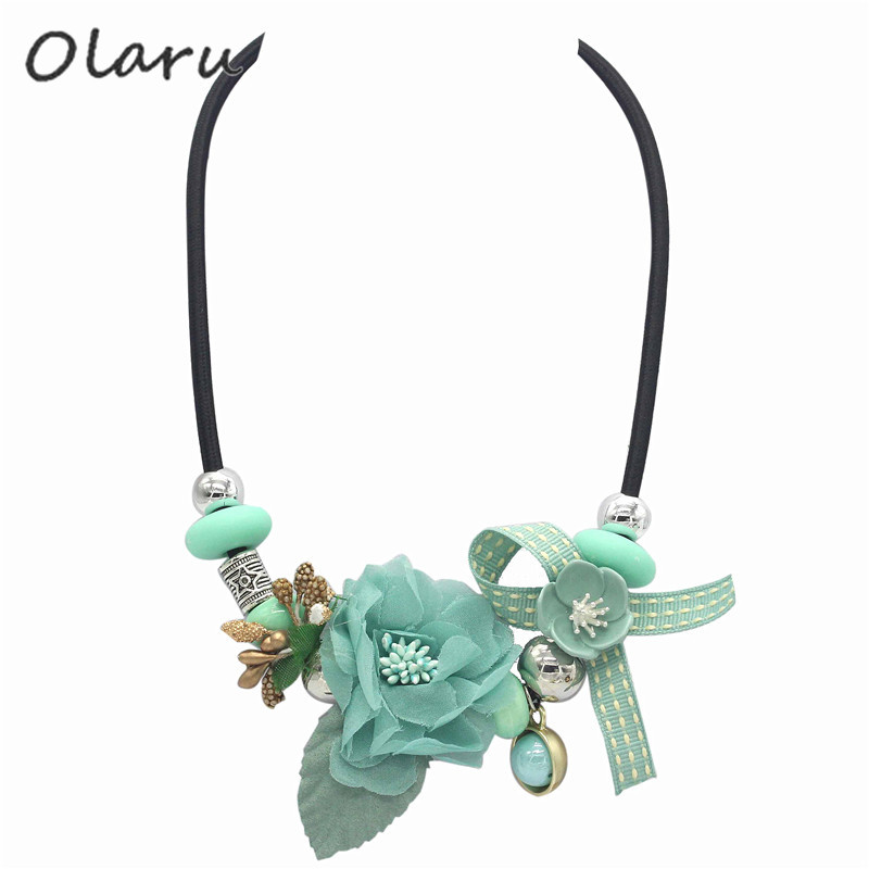 Olaru Brand Korea Cute New Jewelry Fashion Imitation Flower Pearl Choker Neckalce For Woman Maxi Statement Necklace Accessories image