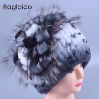 Raglaido Women's Winter Fur Hats Beanies Real Rex Rabbit +Fox fur decoration floral hats adults fashion Caps Elastic LQ11142