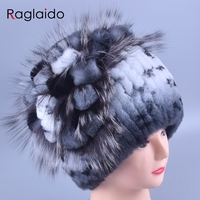 Raglaido Women's Winter Fur Hats Beanies Real Rex Rabbit +Fox fur decoration floral hats adults fashion Caps Elastic LQ11142