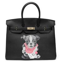 Graffiti Handbags Genuine Leather Womens Handbag Famous 35CM Black Travel Bags Totally Made By Hand Custom Dog Art Design Gifts