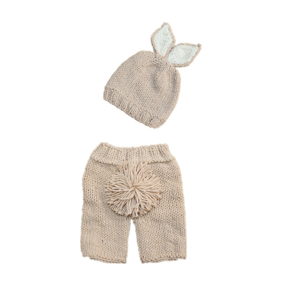 Newborn Baby Clothes Girls Boys Crochet Knit Costume Photo Photography Prop Accessories Rabbit Baby Caps Hats Pants 0 6 months in Clothing Sets from Mother Kids