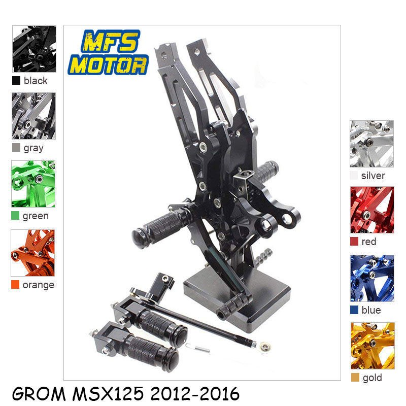 For Honda GROM <font><b>MSX125</b></font> 2012-2016 CNC Adjustable <font><b>Rearset</b></font> Motorcycle Accessories Foot Rest Foot Pegs <font><b>MSX125</b></font> Footrests image