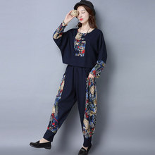 Pant suits women suit pants two-piece clothing two piece set Women Clothing Set 2017 Linen Shirt+Pants bf805