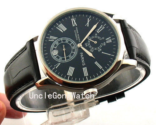 43mm Parnis Power Reserve Multi-Functional Genuine Leather Strap Automatic Movement Men's Watch 11-26 PA4309SB power reserve 1x