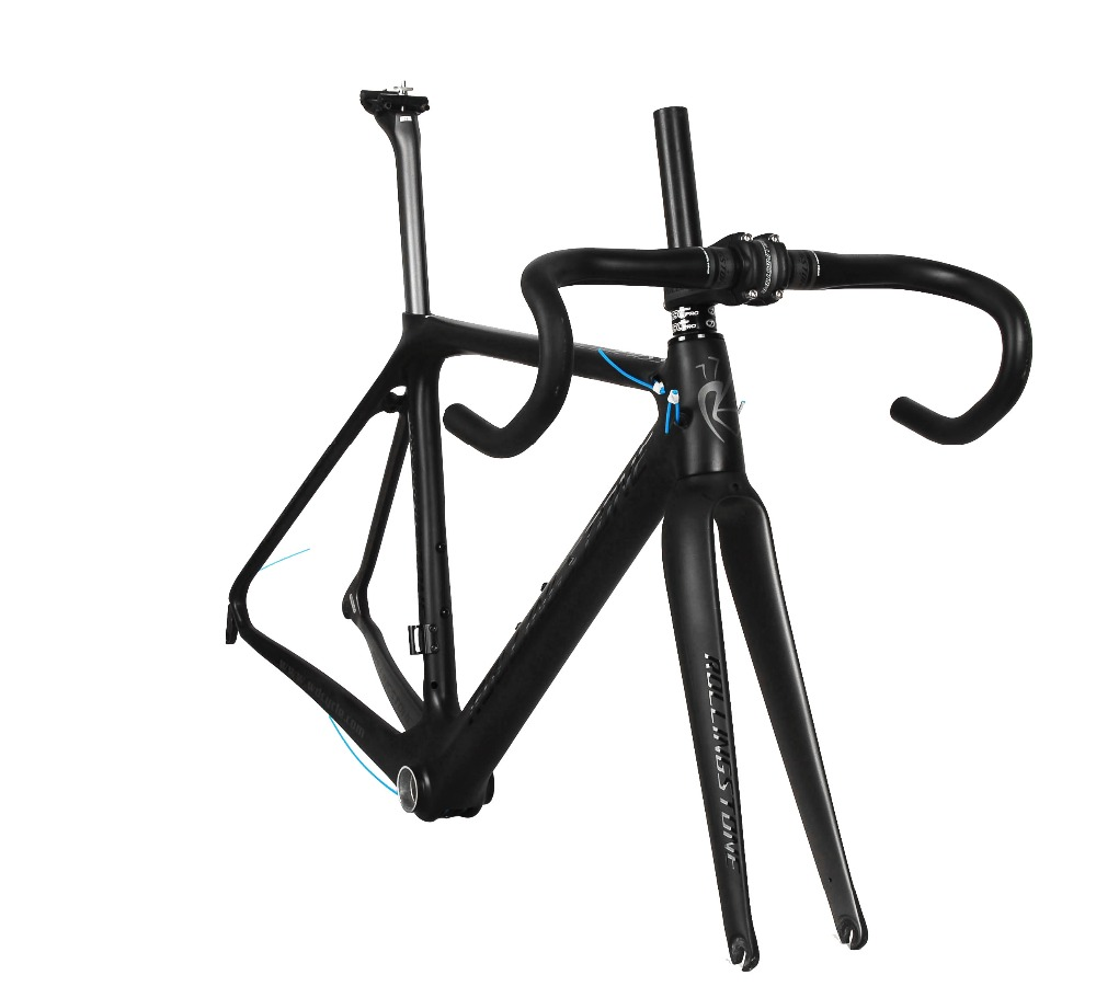 Rolling Stone Compass Road Carbon frame w/handle bar, stem, Seat post for Aero/Climbing 47 50 52cm Black/Gray stone island compass logo crew neck black