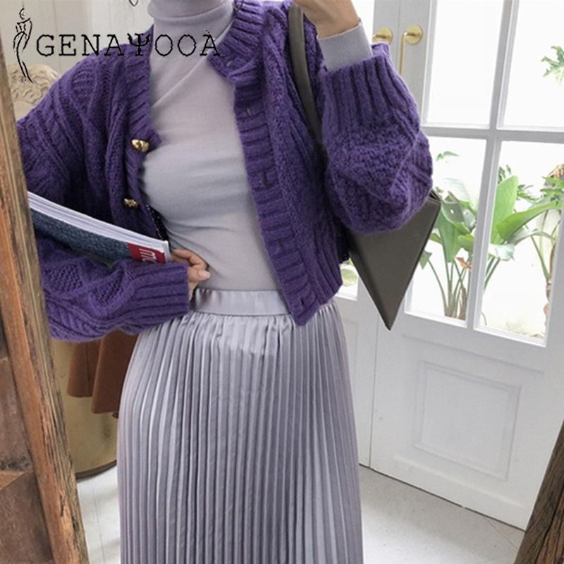 Genayooa Long Sleeve Women Winter Sweater Women With Buttons Cardigan Female Solid Jumper Ladies Short Cardigan Femme 2019