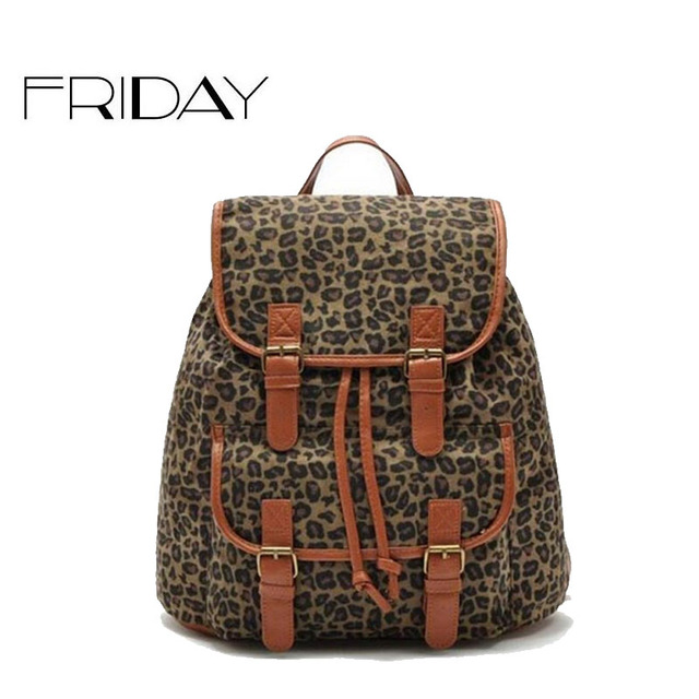4e89d1aaa8 women canvas backpack fashion Leopard women s leather backpack ladies  shcool bags travel backpack