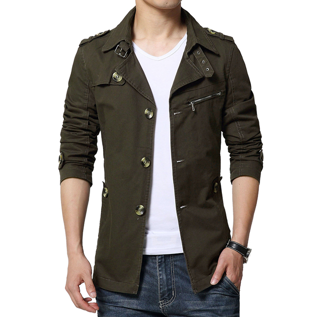 Top qualidade da moda gola slim fit homens trench coat manteau homme único breasted M 3XL 4XL CCL32