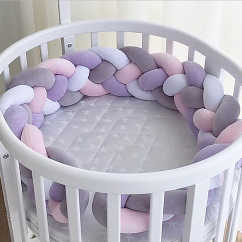 100cm/200cm/300cm Nordic Newborn Baby Bed Bumper 4 Braid Knot Handmade Long Plush Baby Crib Protector Infant Room Decor 300cm 200cm about 10ft 6 5ft mini baby child photography lavender background baby photos zzj1001