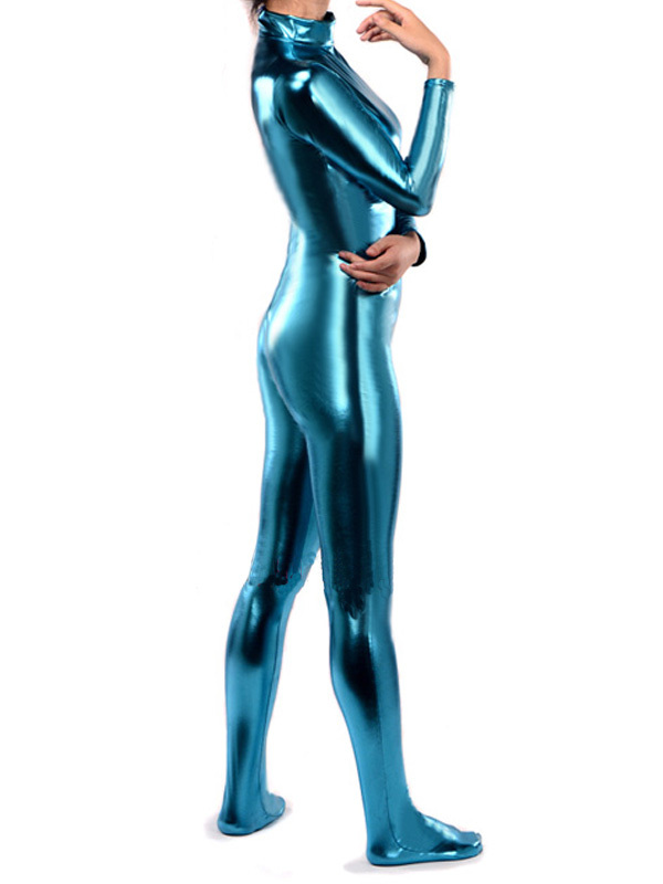 f3689b1e828 BetterParty Hot Sale Sexy Lake Blue Shiny Metallic Lycra Body Zentai Catsuit-in  Zentai from Novelty   Special Use on Aliexpress.com