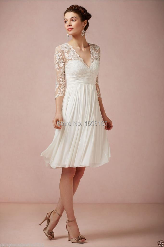 New Custom Made White Ivory 34 Sleeve V Neck Short Lace Chiffon Wedding Dress 1