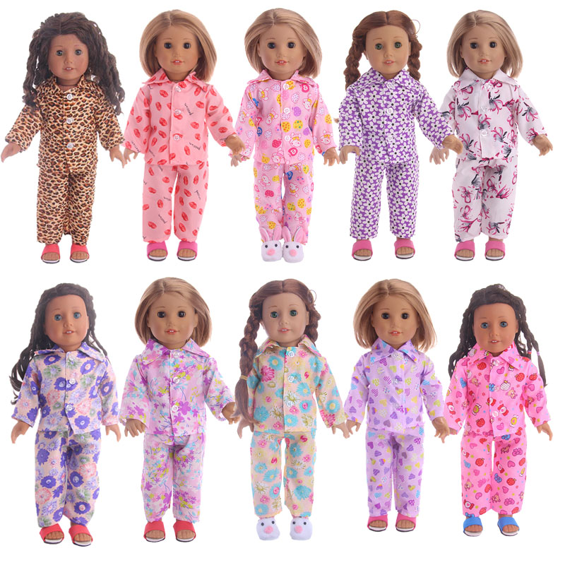 10 Styles Toy Gift Cute Pajamas Nightgown Clothes for 18 inch American Girl Doll clothes for dolls american girl dolls clothing 6 styles elegant color flower print long dress for 18 inch doll clothes accessories girl x 40