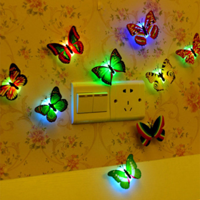 New Color Butterfly Wall Stickers Led Flashing Night Light Home Simulation Electric 3d Wall Butterflies Toys For Kids,Children