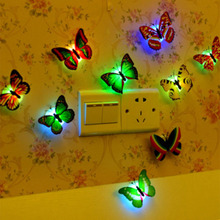 New Color Butterfly Wall Stickers Led Flashing Night Light Home Simulation Electric 3d Butterflies Toys for Kids,Children