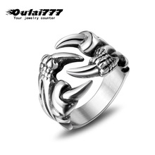 цена на oulai777 2019 wholesale stainless steel rings ring personality men mens male Punk silver men's Retro Domineering Dragon claw