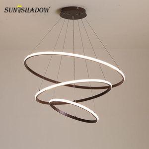 Image 2 - מנורות מודרני LED נברשת לבן & שחור & קפה מנורות Led תקרת נברשות תאורה לסלון מטבח אוכל חדר