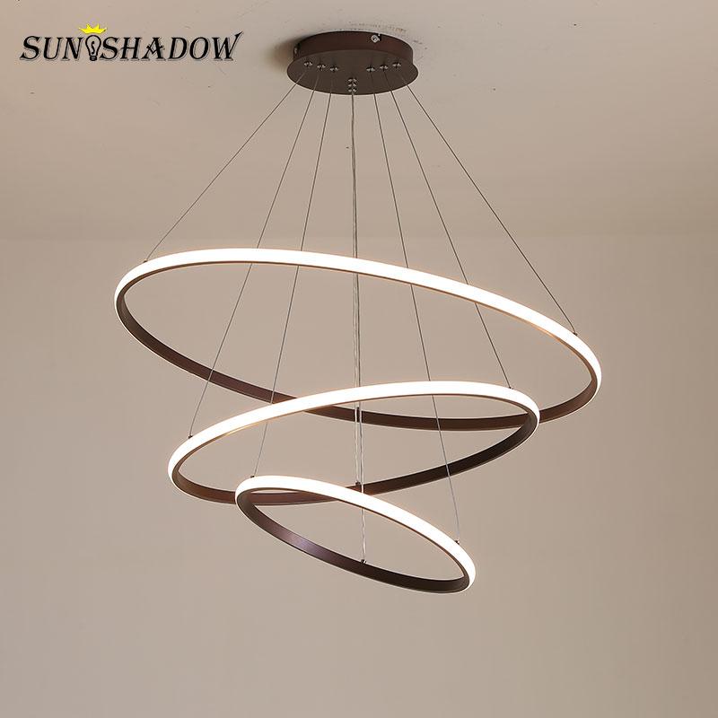 Lustre en LED moderne blanc, noir et à café lampes de plafond à éclairage pour le salon salle à manger de la cuisine