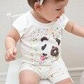 2017 nova chegada Do Bebê Meninas Crianças Coreano Tiger Impresso Casual T camisa meninos Algodão cartas padrão cavalo panda Roupas