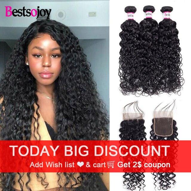 Bestsojoy Water Wave Virgin Human Hair 3 Bundels Met Sluiting Braziliaanse Haar Weefsel Bundels Met Sluiting Haarverlenging Krullend