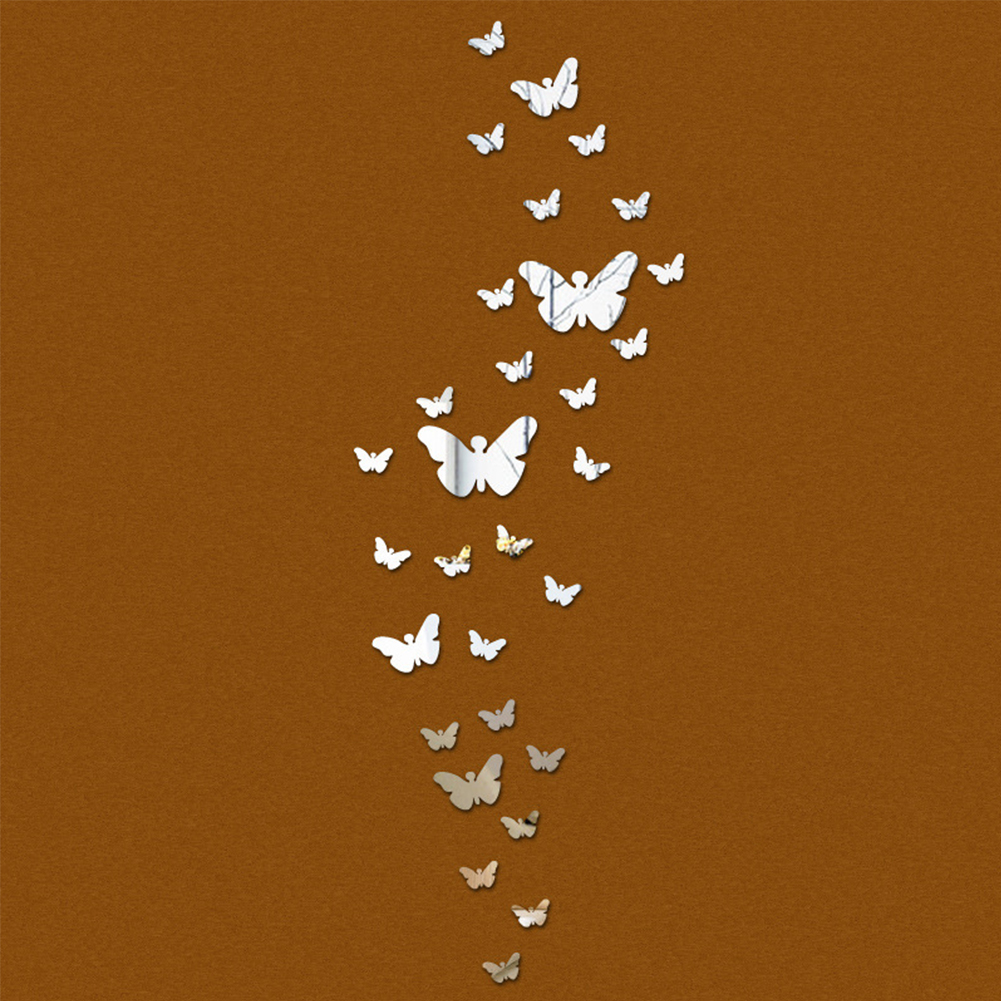 Home Decor 30pcs/set Butterfly Home Decorations Sticking Film Diy Silver Mirror Wall Decorative Decal 3d Stickers Waterproof Home & Garden Shock-Resistant And Antimagnetic