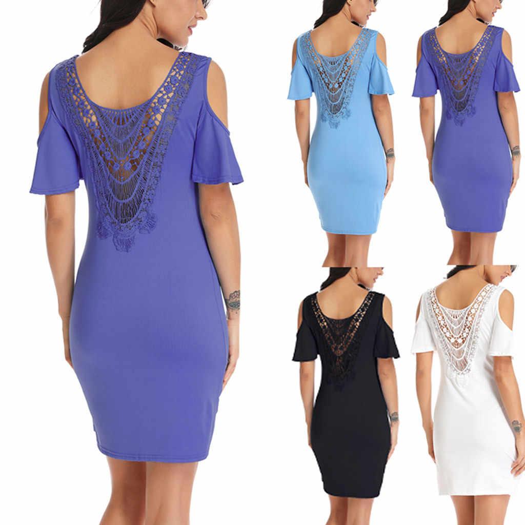 2019 праздничное платье размера плюс платья для Для женщин 4xl 5xl 6xl Для женщин Повседневное однотонное платье без бретелек с открытыми плечами на спине платье мини с кружевной вставкой