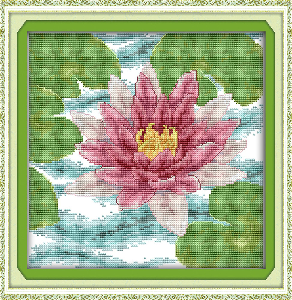 Lotus cross stitch kit pink flower DMC color thread 14ct 11ct count ...