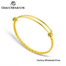 50 шт оптовая продажа золотистый цвет витой браслет женская