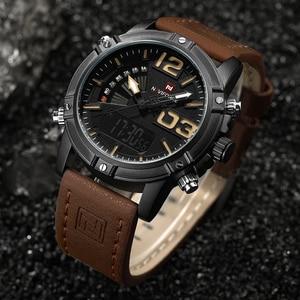 Image 5 - NAVIFORCE Herrenmode Sport Uhren Männer Quarz Analog Datum Uhr Mann Leder Militärische Wasserdichte Uhr Relogio Masculino 2020