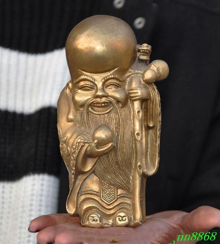 Noël chine chinois Folk prier laiton longévité dieu vie Dragon bâton bouddha Statue halloween