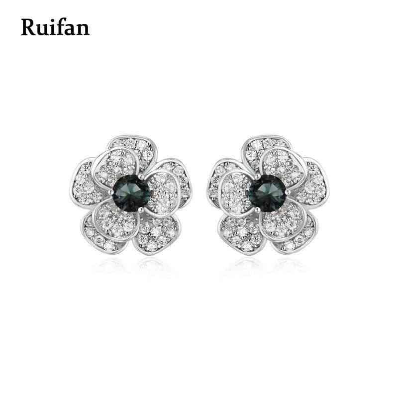 Wyprzedaż kwiat niebieski kryształ Rhinestone Cubic cyrkon 925 kolczyki sztyfty ze srebra wysokiej próby dla kobiet biżuteria dziewczęca YEA052