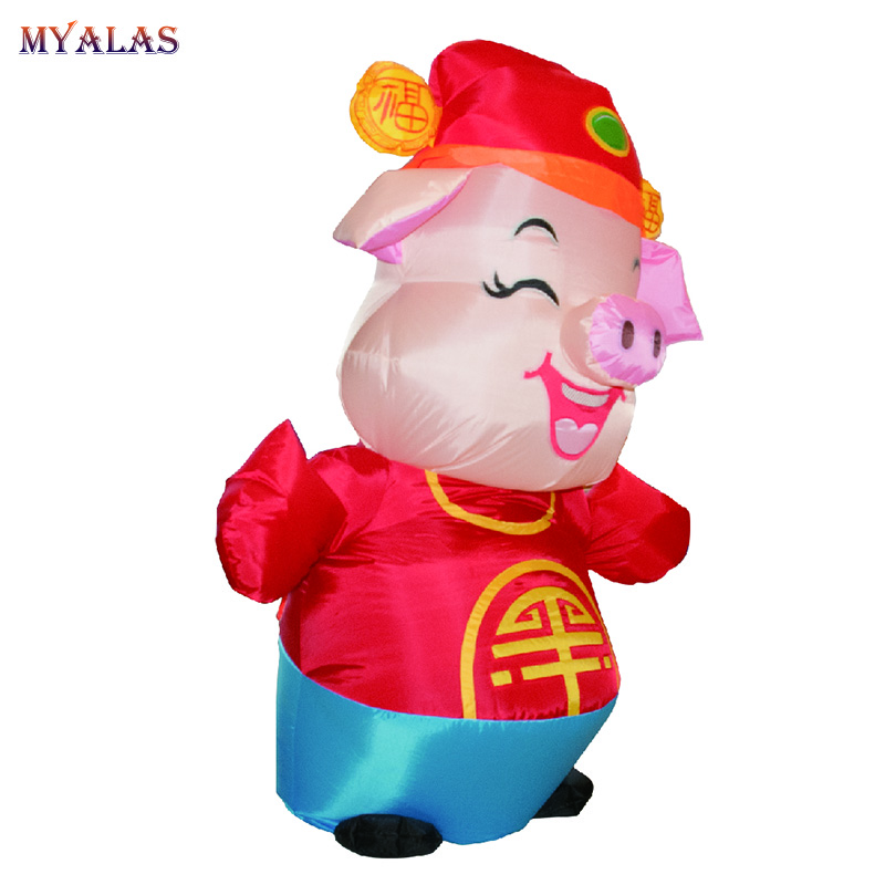 Purim Pig Inflatable Costume For Adult Men Women Mascot Happy Little Pig Cosplay Bring Good Luck Inflated Garment Fancy Dress