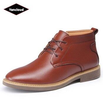Sonbahar Kış için Bölünmüş deri ayakkabı Erkekler 2019 Yüksek Top Rahat kısa çizmeler Platformu Peluş Kürk yarım çizmeler Deri Moccasins