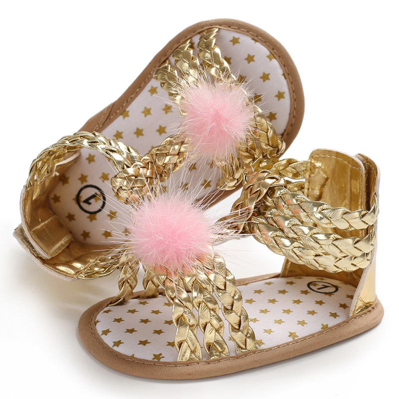 New Summer 0-1 Years Old Female Princess Baby Girl Sandals Soft Bottom Shoes Non-slip Baby Toddler Shoes Pom Infant Prewalkers