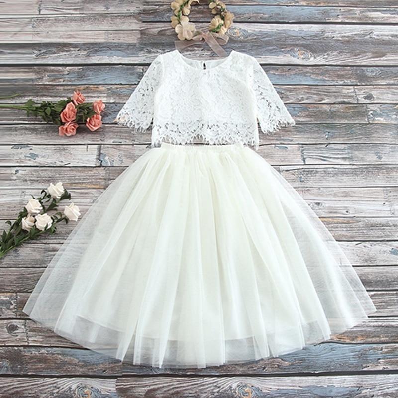 Kids Lace Summer Dress Tutu Birthday Party Dresses Flower Wedding Gown Tutu Children Baby Clothes Vestidos
