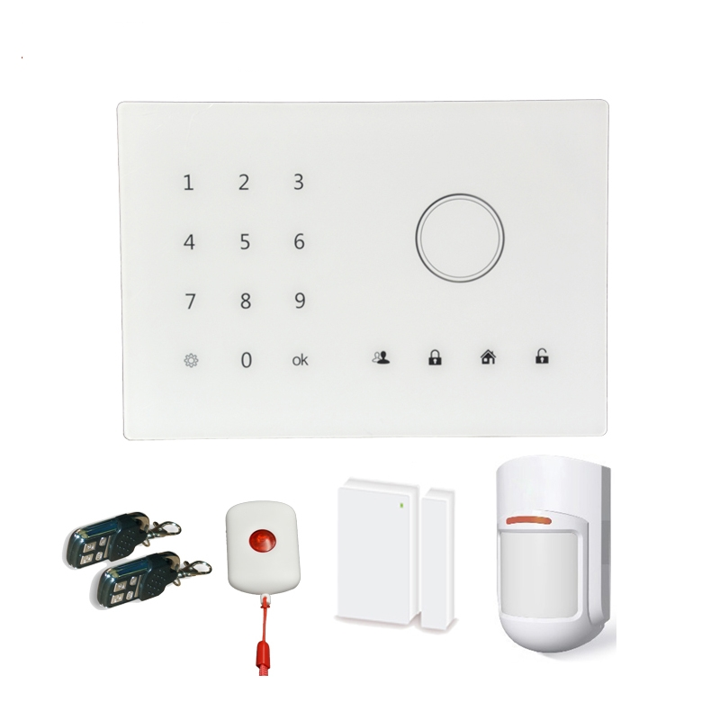 (1 set) Patrolhawk G2 GSM Alarm System Support IOS Andorid APPs Control Wireless PIR Motion Sesnor Magnetic Panic Button