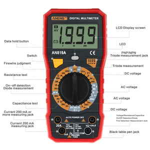 Image 2 - Aneng AN819A Digitale Multimeter Ac/Dc Spanning Ampèremeter Capaciteit Weerstand Triode Tester Current Meter + Crocodile Clips