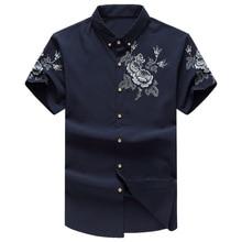 Большие размеры 3XL 4XL 5XL 6XL брендовая одежда рубашка с короткими рукавами для мужчин летнее платье цветочный принт camisas 49