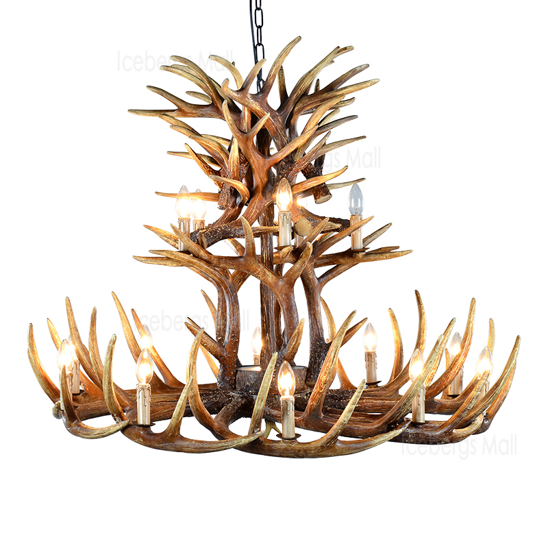 Big Size Brown Antlers Resin Chandelier Lamp Modern LED Antler Chandelier Lustre Chandeliers E14 Vintage Lights Novelty Lighting