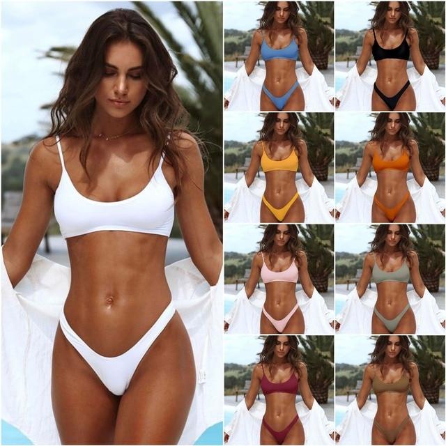 a5bf8845277e € 7.98 50% de DESCUENTO Brasileño niñas trajes de baño Bikini Copa pequeña  + alta corte estilo playa Biquini negro sólido/Micro blanco trajes ...