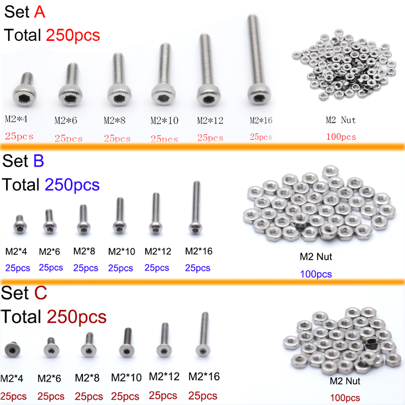 250pc/set Assortment Kit Set A2 Stainless Steel Hex Socket Screw Bolt Nut M2 Cap/Button/Flat Head Assortment Kit
