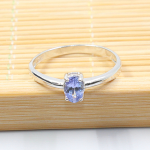 Image 2 - Hotsale gümüş tanzanite yüzük 4 mm * 6 mm gerçek tanzanite yüzük nişan için katı 925 gümüş tanzanite yüzük romantik hediye