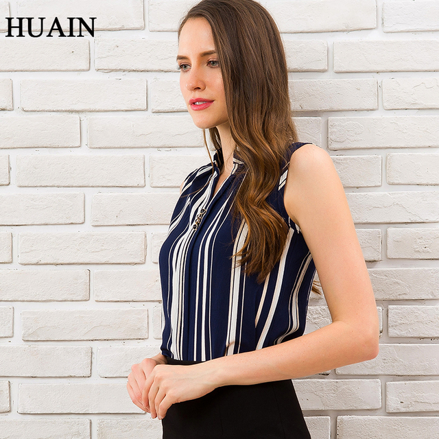 Blue Striped Blouse Shirt Sexy Sleeveless V-neck Summer Top 2018 Office Ladies Work Wear Fitness Female Korean Fashion Clothing 3