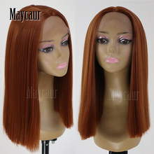 MAYCAUR Hair Short Bob hair Lace Wigs Orange Color Soft Hair Glueless Heat Resistant Synthetic Lace Front Wigs for Black Women(China)